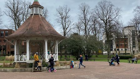 A few families enjoying Chapelfield Gardens in Norwich during lockdown.