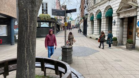 Few shoppers could be seen on London Street in Norwich at Saturday lunchtime.