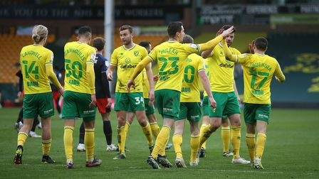 Todd Cantwell of Norwich celebrates scoring his sides 3rd goal during the Sky Bet Championship match