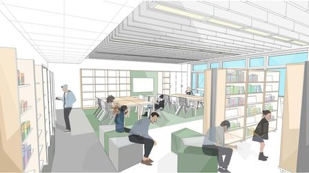 Proposed new building at Sprowston Community Academy will include a new library.