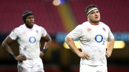 England's Jamie George (right) and Maro Itoje look dejected during the Guinness Six Nations match at