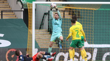Tim Krul of Norwich collects the ball safely during the Sky Bet Championship match at Carrow Road, N
