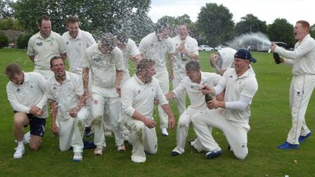 Reed Cricket Club celebrate reaching the National Village Cup final in 2017