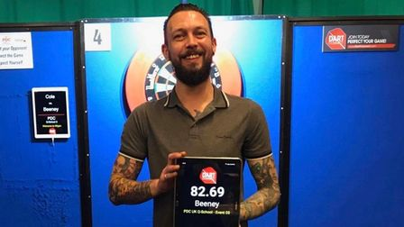 Archway Darts club member Aaron Beeney at the PDC UK Open