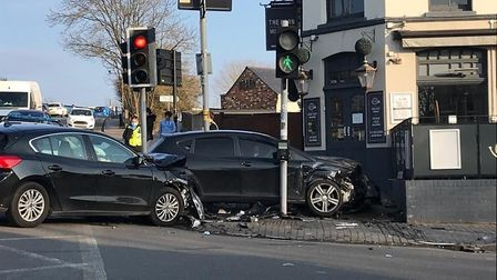 A car crashed into the side of The Horn pub in St Albans during an accident at the Alma Road and Victoria Street junction.