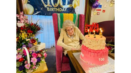 Kathleen Cage celebrating her 100th birthday at Prince George House in Ipswich