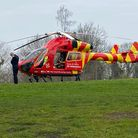 The Essex & Herts Air Ambulance landed in Alexandra Park this morning.