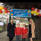 Co-headteachers of St Bernadette Catholic Primary School, together with the head boy and head girl, mark the re-opening of...