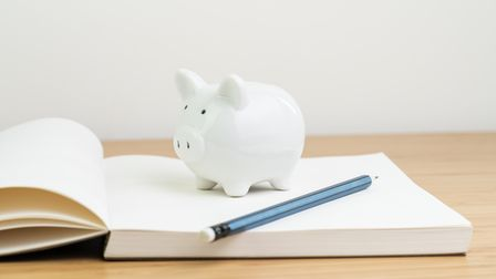 Income, tax, savings, personal finance planning or investment concept, white piggy bank on blank ope