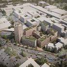 Bird's eye view of proposed development with Lytton Way in the foreground and showing relationship with the intended SG1...