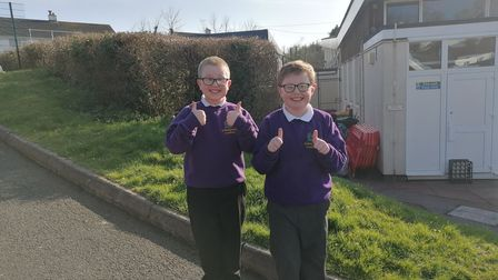 Thumbs up from the kids at St Margarets