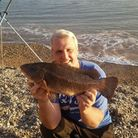 Gaz Bowden with his 4lbs 4oz ballan wrasse -Exmouth SAC fish of the month