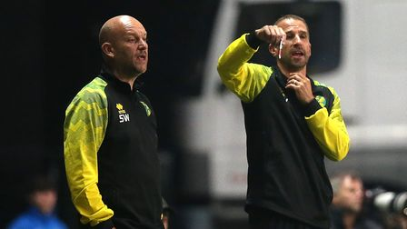 Norwich Development Head Coach David Wright and Academy Manager Steve Weaver during the EFL Trophy m