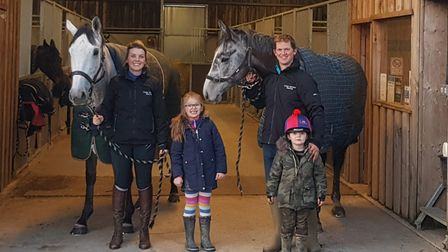 Chris Honour with Grumpy Charley, wife Becky with Okhotsk and their children Joshua and Amelia