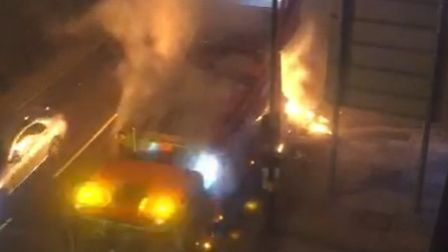 A bin truck caught fire in Swiss Cottage on Friday March 5.