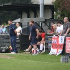 Royston Town manager Steve Castle on the touchline