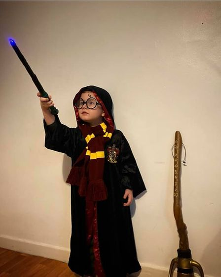 Finlay Stoakley, 4,from Hackney,dressed up as Harry Potter.