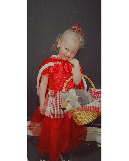 Skye Stagles, age fourand from Hackney,dressed up asLittle Red Riding Hood.