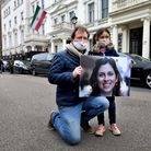 Richard Ratcliffe with his and Nazanin's daughter Gabriella outside the Iranian Embassy