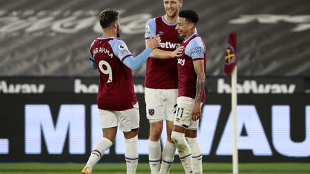 Jesse Lingard of West Ham United celebrates scoring their team's first goal of the game during the Pr