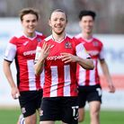 Goal celebrations for Matt Jay of Exeter City as he scores his hat trick during the Sky Bet League