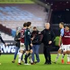 West Ham United manager David Moyes (centre) at the end of the Premier League match at the London St