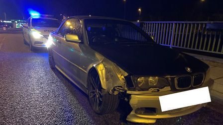 The driver admitted being uninsured after the crash on Freedom Bridge outside Wisbech Police Station on Monday, March 8.