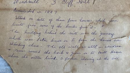 Notes on the back of photo found in Cliff Hill, Gorleston