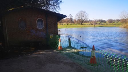 Verulamium Lake has burst its banks, flooding the public toilets, due to excessive winter rainfall.