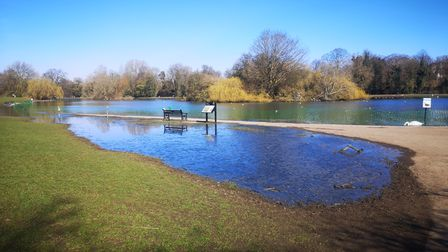 Flooding at Verulamium Lake.