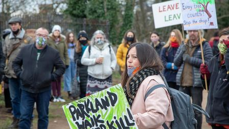 Giovanna Iozzi is among the protesters upset at the scale of tree cutting works at the Parkland Walk.