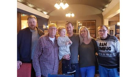 John Marks, second left, with a family group at a get-together at Christmas 2019