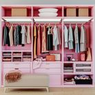 modern pink wardrobe with clothes hanging on rail in pink walk in wardrobe