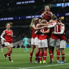 Arsenal celebrate after Vivanne Miedema scores her sides second goal of the match during the FA Wome