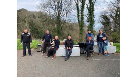 Volunteers after a rubbish clean up