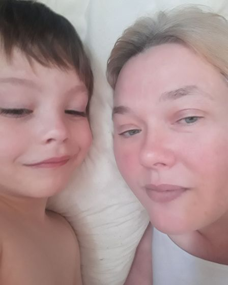 Resident Alyson Prince with her son.