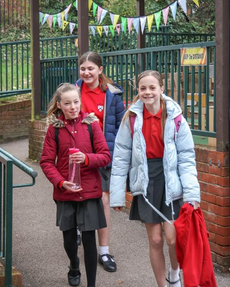 Different year groups were allocated specified times to stagger arrival atSt Thomas More Catholic Primary School in...