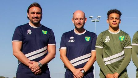 From L to R – Head Coach Daniel Farke, Academy Manager Steve Weaver, Max Aarons, Louis Thompson, Jam