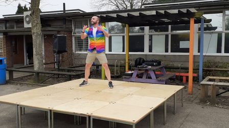 Rushmere Hall Primary School headteacher Paul Fykin leading the outdoor disco