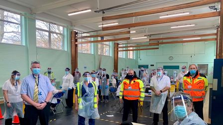 Norwich City football stewards have been helping staff with the pupil coronavirus testing programme at City of Norwich...