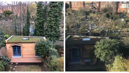 Before and after trees were felled along the Overground by Hampstead Heath station.