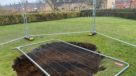 A sinkhole has appeared in the park on Frere Road, Norwich