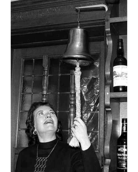 Ringing the bell at the Royal George pub in Ipswich in 1974