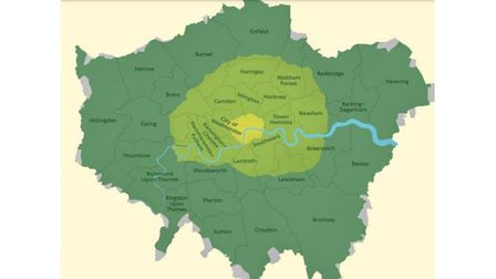 Current London-wide Low Emission Zone in yellow and ULEZ expansion in light green.