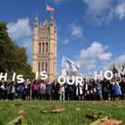 EU citizens in Victoria Tower Gardens in Westminster, lobbying MPs over post-Brexit rights in the UK.
