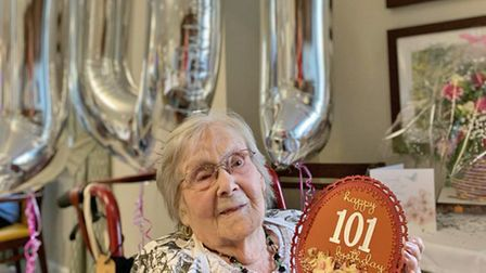 Win Scott celebrates her 101st birthday at the Ferrars Hall care home in Huntingdon.