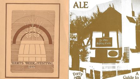 A poster for St Albans Beer Festival andthe cover of a local pub guide.