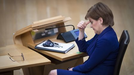 First Minister Nicola Sturgeon during the debate ahead of a vote of no confidence against Deputy Fir