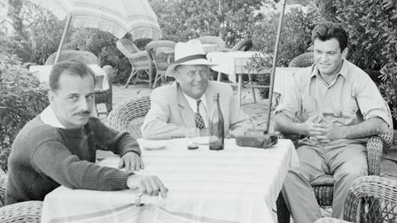 Josip Broz Tito, centre, entertains on the island of Brioni, 1952. His guests are Yugoslav army chie