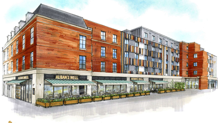 Artist's drawing of new pub, Alban's Well, at the old BHS site in St Albans